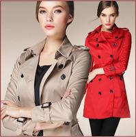 2014 Autumn&Winter Ladies' Fashion Brand Nine Sleeve Turn Down Collar Trench Coat Women's Cotton Outwear Slim Long Coat LCW11003