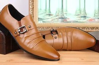 2014 New Men Genuine Leather Shoes Slip On business Wedding Shoes Pointed Toe Oxford Shoes, 38-44, 2 colors