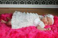 2014 Newborn Baby Girl Christening Lace Dress Blessing Dress Baby Girl Dress Ruffle Tutu Dress Free Shipping