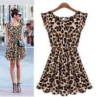 2014 fashion Women's Dresses Sweater Elegant Vintage Sleeveless Pinup Leopard Loose Casual summer Mini Print Dresses