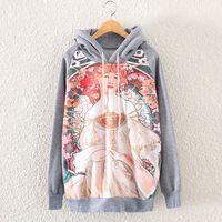 2014 New Autumn Winter Vintage Fashion Women Long Sleeve Print Sweatshirt Jumper Casual Hooded Pullovers Hoodies Tops Blouses