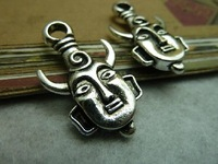 Min. order is $8(mix order)Vintage mask Pendant,Antique silover  Charm,Antique Connector Findings,Free Shipping! c6749