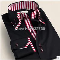 Free shipping 2014 Summer and Autumn Men Business Casual slim Fashion long sleeve shirt dress shirt Big size 36---46