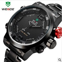 HOT WEIDE Military Watches Men Luxury Brand Full steel Watch Sports Diver Quartz Wristwatch Multi-function LED Display
