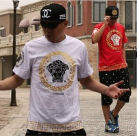 Men's t shirt summer 2014 fashion brand tshirt tee clothing casual hip-hop plus size Europe America gold hip-hop street fat