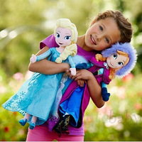 Wholesale Price In Stock 40cm Frozen Plush Toys Stuffed Doll Elsa, Anna Princess Plush Doll Opp Package