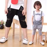 Vintage Children's  Knee Pants Co. Black Gray Cotton Rivet Harem Shorts- 2 3 4 5 6