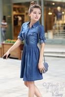 New 2014 European & American Fashion Plus Size Blue Denim Dress Half Sleeve Tunic Pleated One Piece Vestido Jeans Dress M-XXL
