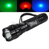 free shipping Waterproof 600LM Ultrafire 501B 1 mode green/red/white light led hunting flashlight  Torch Flash Light