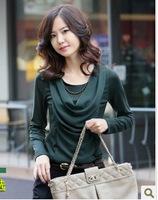 Autumn Women Korean Women Slim round neck long-sleeved T-shirt loose chiffon blouse women