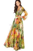 2014 new arrival womens V neck Summer tropical flower print chiffon long sleeve temperament long dress