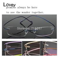 Lovey fashion frameless myopia eyeglasses frame men women unisex super light titanium alloy gold silver red pink purple grey