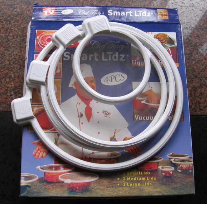 6 pack(1pack=4pairs) vacuum sealer Smart lidz food lids fruit cling film plastic 4 pc sealer lids New In The Box free shipping(China (Mainland))