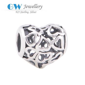 925 Sterling Silver Heart Charm Fits Bracelets Bangles Pendant bracelet jewelry GW ...