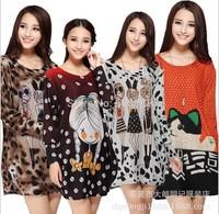 2014 New Autumn Plus Size Women Clothing Casual Big Size Cartoon Girl Cat Print Knitted Dress for women Lady Tunic 3XXXL,4XL,5XL