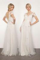 2014 new sexy v-neck backless wedding dress custom All size