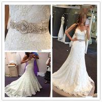 New sexy v-neck backless white/ivory mermaid lace wedding dress custom size