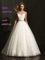 E12 2014 fashionable white bride see through lace wedding dress train plus size bridal gown gowns vestido de noiva casamento