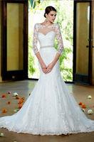 White Ivory Mermaid Wedding Dress Lace Bridal Gown Custom Size