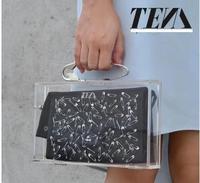 C* Oly * xTom Binns transparent acrylic clutch bag buckle pin brooch large storage clutch 50% off