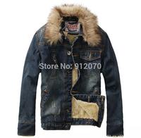 Man winter 2014 classic brand mens denim jacket coat men outdoors casual punk mens jacket denim jeans Real fur collar