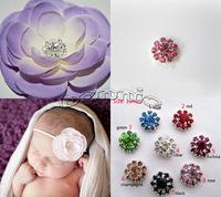 Free Shipping 30pcs/lot 12mm Flower Center Rhinestones  Roundr Glass Embellishments For Hair Flower Wedding Invitation