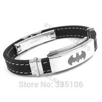 Free shipping! Classic Batman Bracelet Stainless Steel Jewelry Black Rubber Motor Biker Bracelet SJB0221