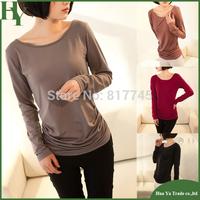 E002 Women Clothing 2014 Fashion Milk Fiber Long Sleeve Shirt Women