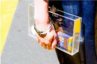 Clutch transparent acrylic plexiglass jewelry box crystal diamond gold crown holding a square box clutch bag 50% off