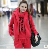 2013 Korean version of the fall and winter clothes casual wear three-piece hooded fleece sweater suit2519