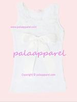 Boutique tops sleeveless summer Kids petti top WHITE cotton Tshirt sleeveless ruffles chiffon ribbon