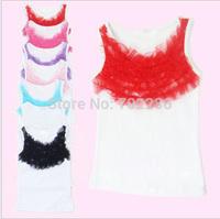 Baby tops sleeveless summer top WHITE cotton Tshirt sleeveless ruffles chiffon