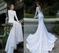 2014 New Mermaid White Or Ivory Custom Lace Long Sleeve Backless Bridal Wedding Dress