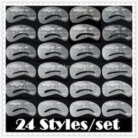 Hot Sale 24 Stype Transparent Eyebrown Stencils ,Thrush card /PVC  Thrush Board /Beautiful Eyebrow Template /In Stock/ Wholesale