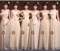 Formal dress lace long design bandage champagne bridesmaid dress