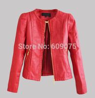 Free shipping Women faux leather jacket PU Leather Short Jacket Feminino Jaqueta couro Sexy 3 colours