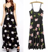 2014 New Sexy Women's Summer Bohemian Boho Flower Print Stitching Hem Spaghetti Strap Dress Sexy Backless Chiffon Long Dresses