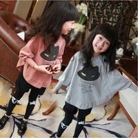 Han edition 2014 children's dress  Girls princess dress hat cartoon dress wholesale long-sleeved irregular patchwork top clothes