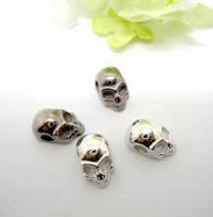 160PCS Silver&Black Tone Zinc Alloy Skull Big Hole Beads Fit European making Bracelet jewelry findings