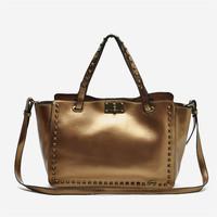 Free Shipping high quality pu leather women vintage handbag fuchsia brief style