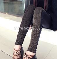 2014 Fashion brand New womens autumn/winter Show thin imitation leather Stitching leggings female Dark shining diamond leggings