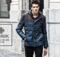 2014 New Arrival Men PU down Jacket  thickening Patchwork  men's down parkasIrregular patterns High Quality