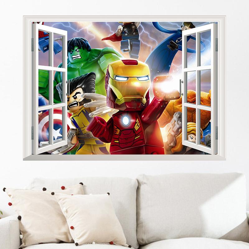 affreschi murali finestre finte : nuovo 1423 finte finestre gioco lego 3d dei bambini adesivi murali ...