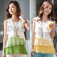 2015 Korean style Women shirt Multi-layered Women Chiffon Shirt Sleeveless O-Neck patchwork blouse