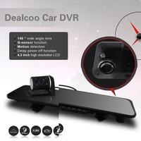Dealcoo HD1080P H170 Dual Lens Camera Rearview Mirror Viedo Recorder Car DVR Blackbox G-Senser without GPS