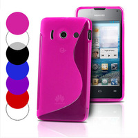 6 colors S line Wave Soft Tpu Gel Back Skin Cover Case for Huawei Ascend Y300 U8833 T8833 black clear blue hotpink purple red