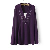 3XL-6XL Plus Size Women Floral Embroidery Long Sleeve Tee Knitwear Pullover Big Large Size Purple XXXXL XXXXXL 2014 New Autumn