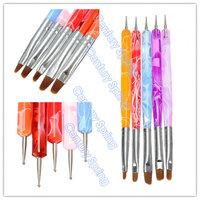 5pcs 2-Ways Nail Art Design Tips Acrylic UV Gel Dotting Painting Brush Pen Set Nail Art Tips Painting Brush