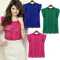 2014 new Fashion women chiffon blouses fly sleeve short sleeve women blouse girl chiffon shirt