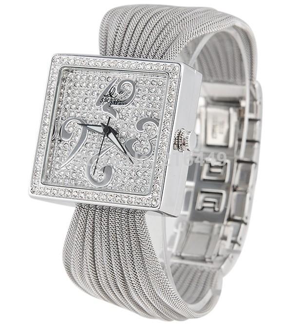 Japan Movement Square Diamond Gold/Silver Quartz Steel Wire Strap Watch Luxury Top Women Brand Name Smays Tag Lady Dress Clock(China (Mainland))
